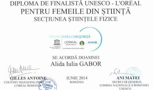 """Lect. dr. Alina Gabor a fost desemnată finalistă în programul """"For Women in Science"""""""